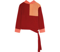 Faustine Color-block Crepe De Chine Wrap Top Bordeaux