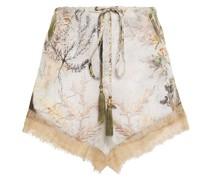 Bedruckte Shorts aus Crêpe De Chine aus Seide mit Spitzenbesatz