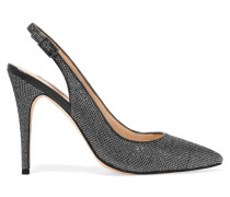 Tigers Eye Metallic Canvas Pumps Silber