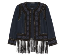 Fringed Suede-trimmed Beaded Felt Jacket Mitternachtsblau