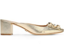 Crystal and faux pearl-embellished metallic leather mules