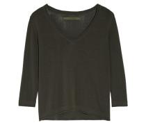 Open-knit Cotton-blend Top Dunkelbraun