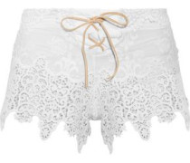 Castaway lace-up  broderie anglaise cotton shorts