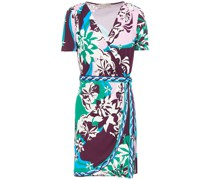 Printed Jersey Mini Wrap Dress