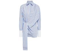 Gestreiftes Hemd aus Baumwollpopeline mit Bindedetail Vorne