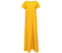 Gathered Slub Woven Maxi Dress
