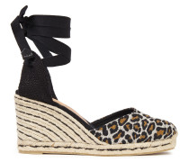 Carina 80 Cotton-blend Leopard-jacquard Wedge Espadrilles