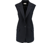 Pinstriped Wool-blend Vest Navy