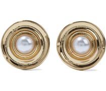 22-karat -plated Faux Pearl Clip Earrings