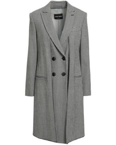 Double-breasted Checked Wool-blend Crepe Jacket Black