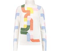 Intarsia Wool-blend Turtleneck Sweater Weiß