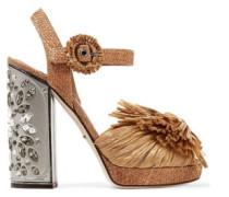 Embellished raffia platform sandals