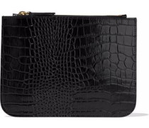 Croc-effect leather pouch