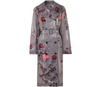 Floral-print Pu Trench Coat