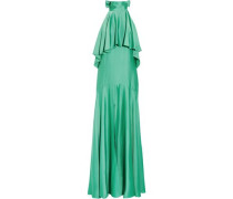 Luna ruffled satin halterneck maxi dress