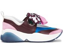 Sneakers aus Shell, Leder und Veloursleder mit Twillbesatz
