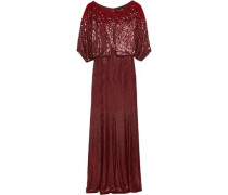 Cape-effect sequined silk-voile gown