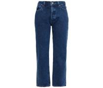 Halbhohe Cropped Jeans mit Geradem Bein