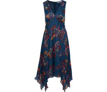 Teri Lamé-trimmed Pleated Floral-print Georgette Dress