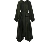 Yalena Asymmetric Pleated Crinkled-satin Midi Dress