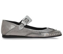 Studded metallic cracked-leather point-toe flats