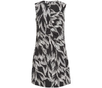 Ruched Printed Stretch-crepe Mini Dress