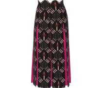 Love Blades silk-paneled printed wool-blend midi skirt