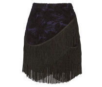 Mia Fringed Embroidered Wool-blend Mini Skirt Schwarz