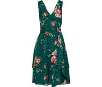 Kelson Wrap-effect Layered Floral-print Jacquard Dress