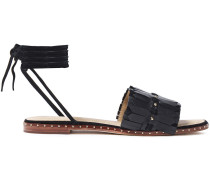 Woman Studded Fringed Leather Sandals Black