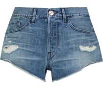 Distressed denim mini shorts
