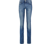 The Straight Leg Mid-rise Jeans Mittelblauer Denim