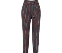 Wrap-effect jacquard tapered pants