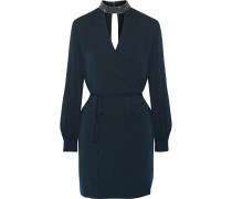Embellished Wrap-effect Jersey Mini Dress Mitternachtsblau