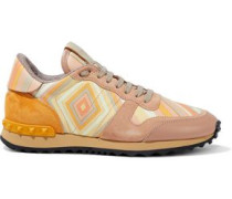 Rockstud Printed Suede And Leather Sneakers Orange
