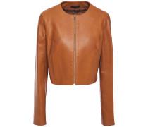 Tezra Cropped Leather Jacket