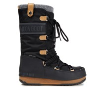 Monaco Lace-up Felt, Shell And Faux Leather Snow Boots