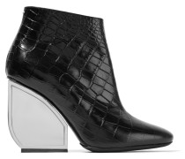 Croc-effect Leather Ankle Boots Schwarz