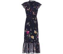 Fluted Tie-neck Floral-print Georgette Midi Dress