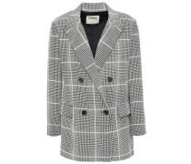 Taryn Double-breasted Houndstooth Silk Crepe De Chine Blazer Off-white Size 0