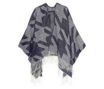 Ermine Fringed Jacquard-knit Poncho Grau