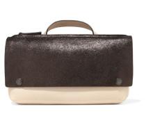 Metallic Two-tone Textured-leather Tote Beige