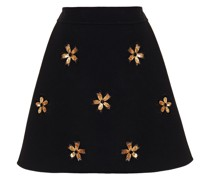 Embellished Tulle And Wool-blend Crepe Mini Skirt