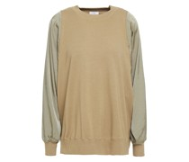 Twill-paneled Stretch Cotton And Modal-blend French Terry Top