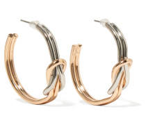 Silver And Gold-tone Earrings Silber