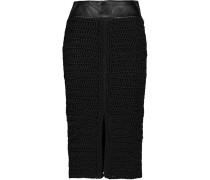 Leather-trimmed Crocheted Silk Skirt Schwarz