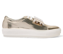 Adriana Plaque-detailed Metallic Leather Sneakers Gold