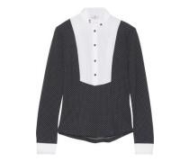 Cotton blend-paneled polka-dot stretch-jersey top