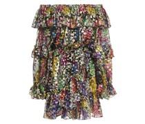 Off-the-shoulder Metallic Fil Coupé Printed Silk-blend Mini Dress