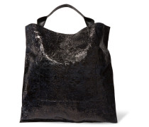 Coated Textured-leather Tote Schwarz